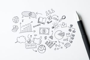 Business doodles icons set - hand drawn